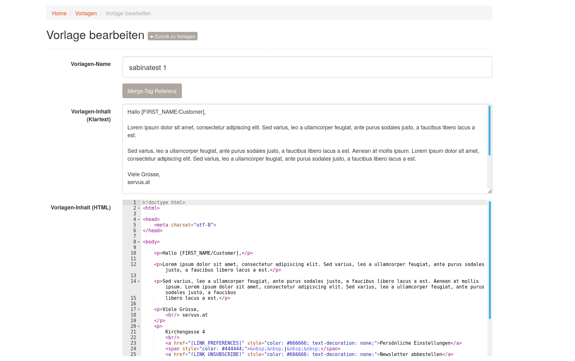 Versende HTML Newsletter   Book Of Servus